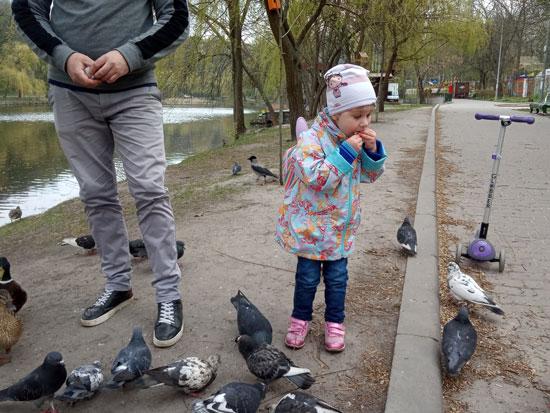 Птиц накормила и себя не обидела. Если что, это хлеб, а не голубь